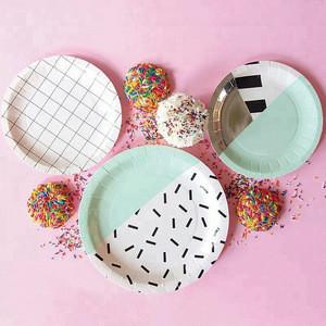Wholesale Modern Fashional Birthday Wedding Party Decorative Supplies Disposable Custom Paper Plates