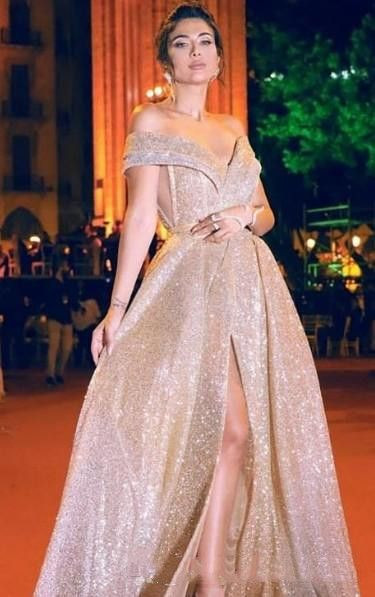 free shipping Sexy Sparkly Cheap 2020 Arabic Evening Dresses Sweetheart A-line Sequined Prom Dresses Elegant Formal Party Bridesmaid Pageant Gown