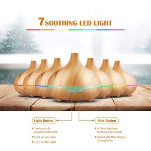 235ml Essential Oil Diffuser, Wood Grain Ultrasonic Aroma Cool Mist Humidifier for Office Home Bedroom Baby Room Study Yoga Spa