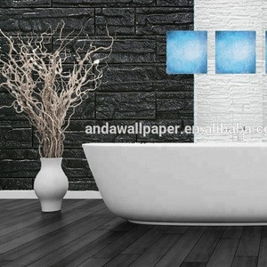 3d foam wallpaper black and white color stone and brick design for bathroom