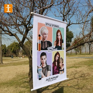 Advertising string podium hanging roll up banners