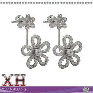 Best Price Sterling Silver Cubic Zirconia Flower Ear Jacket Earrings