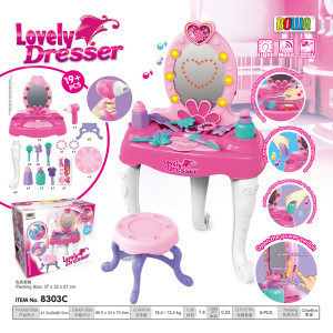Children's luxury light and music simulation jewelry dressing and dressing table set play house girl makeup toy