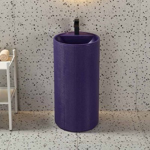 China WC Solid Surface Pedestal Basin Floor Standing Marble Wash Basin