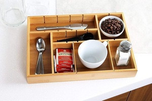 Combohome Bamboo Kitchen Drawer Organizer with Removable Dividers Silverware Organizer Utensils Tray Cabinet Organizer