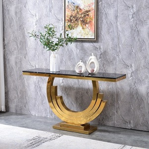 Console Table Gold Glass Modern Luxury Marble Top Home Classic New arrival