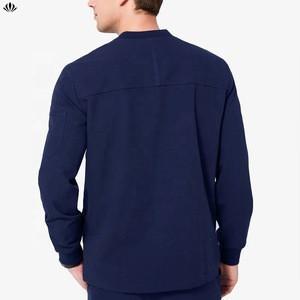 Four-Way Stretch Anti Wrinkle Rayon Blended Stylish Ribbed Collar Multi Pockets Long Sleeve Scrubs Uniform Tops Jacket