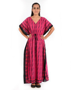 High-quality pink color printed pattern ladies wear abaya dress & long evening wear gowns