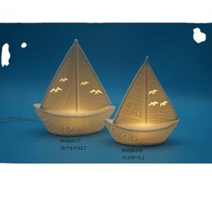 Home decor led light porcelain fishing sailing boat