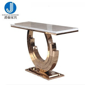 Lucxury marble top stainless steel frame gold console table