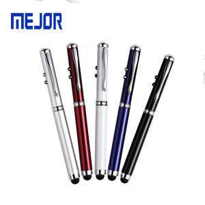 MEJOR Free sample 4 in 1 pens touch screen ballpen hot selling white LED red laser pointer stylus pen