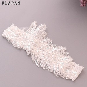 Popular  Sequins  wedding accessories bridal white garters set for party