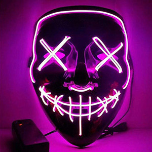 Promotional Funny Halloween Glowing Mask Fast Shipping Purge Party Mask Glow Mask