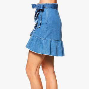Sexy women denim fabric short skirt