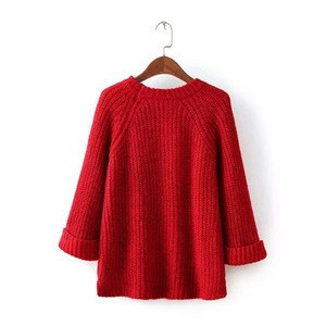 Women European and American style knitted Front Short Back Long Short Roll Up Sleeve  hooded sweater