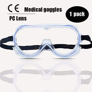 Clear Safety Goggles Anti-fog Transparent Safety Glasses UV Protection Goggle Over Glasses Goggles for Men, Women & Youth, Adjustable Temple