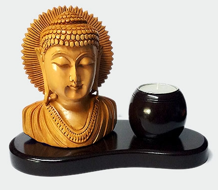 Wooden Buddha Candle Stand