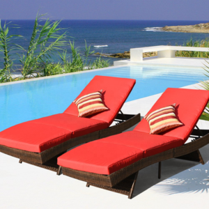 2 pcs Outdoor Chaise Lounges - Rattan Wicker Pollside Lounge Chairs