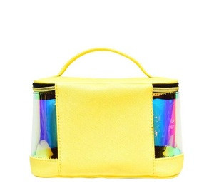 2020 new style ECO friendly TPU  large capacity top handle train case holographic tote bag fpr travel accessories
