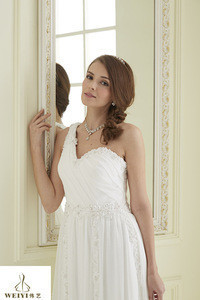 A-line beaded belt for wedding dress with train 2014