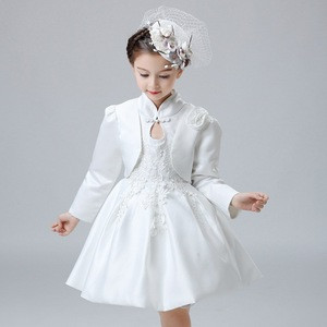 Chinese New Year Dress Design Long Sleeves Flower Lace Kids Baby Girl Party Dress