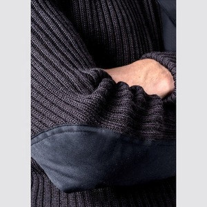 Custom Wool Acrylic Cable Pattern Police Uniform Knitted Cardigan Security Guard Uniforms
