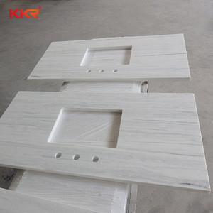 Cut-to-size discount stripe solid surface bathroom countertop vanity tops
