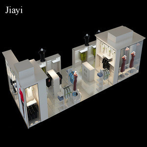LED lights equipped island display cabinet and clothing display stand for clothes display design