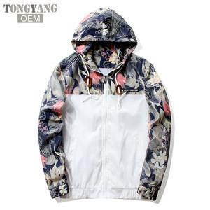 TONGYANG Floral Bomber Jacket Men Hip Hop Slim Fit Flowers Pilot Bomber Jacket Coat Mens Hooded Jackets Plus Size 4XL