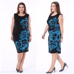 Women Plus Size Curvy Black Knee-Length Dress 4xl 5xl 6xl 7xl Round Neck Floral Dresses