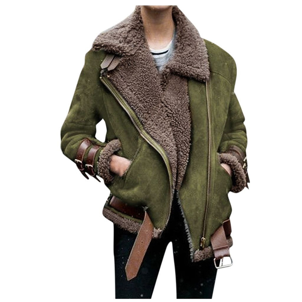 Winter Women Faux Fur Fleece Coat Outwear Warm Lapel Biker Motor Aviator Jacket Lady Deer leather velvet lamb cotton coat jacket