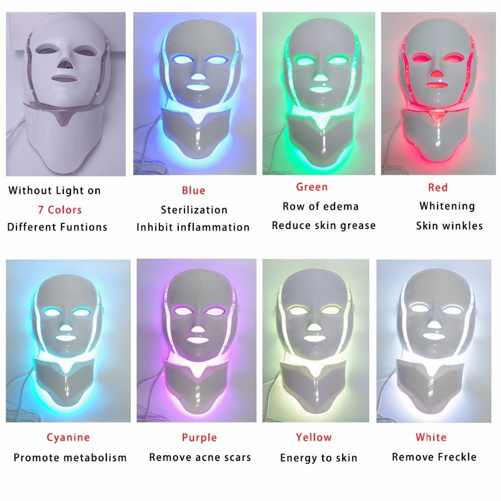 Led Face Mask 7 Color Facial Skin Care Mask With Blue & Red Light Skin Mask For Home Spa Use