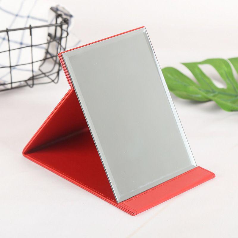 High-grade leather desktop folding vanity mirror makeup gadgets PU makeup mirror