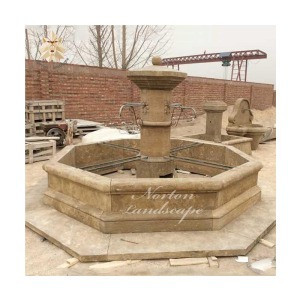 Antique yellow marble french style stone fountain outdoor garden used marble water fountains NTMF-A190S