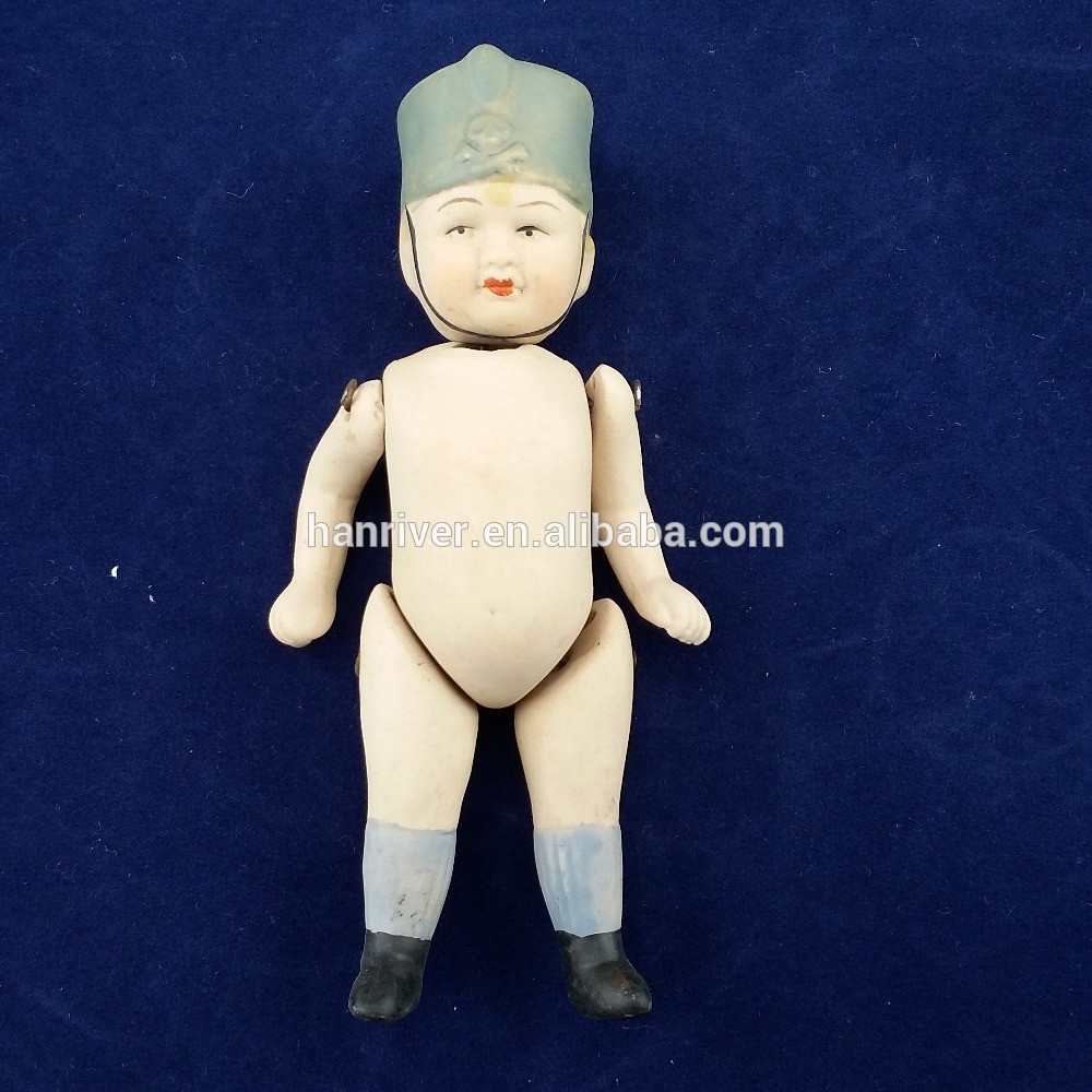 Hot selling ceramic porcelain toy baby figurine with flexible arms and legs