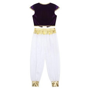 Kids Boys Arabian Prince Outfit Cap Sleeves Vest Waistcoat with Pants Set Party Cosplay Costume for Halloween Dress Up