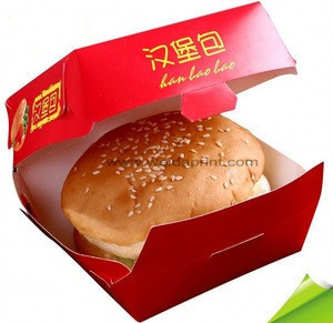 Low price fast food packaging box for hamburger and sandwich