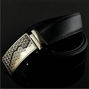 Men's Leather Belt, Automatic Buckle High Quality Leather Ratchet Belt 3.5cm * 130cm