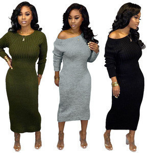 New 2020 Street Off The Shoulder Long Sleeves Naked back long Skirt Solid Draped Fall Sweaters Dresses