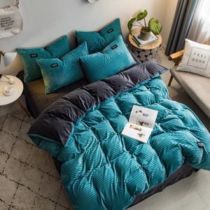 New magic velvet Fleece bedding set 4pcs/set stripe duvet cover flat sheet pillowcase AB side flannel winter warm bed linen