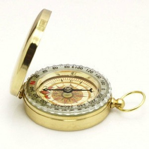 Outdoor equipment pure copper clamshell directional multi-function compass compass pocket watch map luminous gold-plated compass