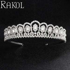 RAKOL HA034 Luxury Glorious White Gold Zircon Crystal Crown Tiara Bridal Wedding Hair Accessory For Women