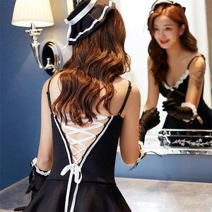 Sexy sleeveless, off-the-shoulder dress Women's holiday gifts Maid's dress with bare back Suitable for couples man and wife