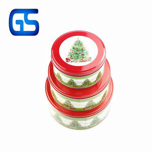 Three separate set round biscuits tin box popular metal tinplate three-piece suit round boxes for candies