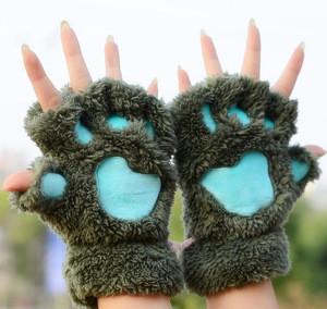 Winter Cute Cat Claw Gloves Woman Fingerless Thicken Plush Fur Half Finger Gloves