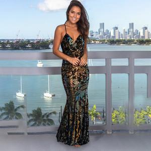 Women's sexy V neck backless strap mermaid long skirt gold sequins sleeveless evening dresses