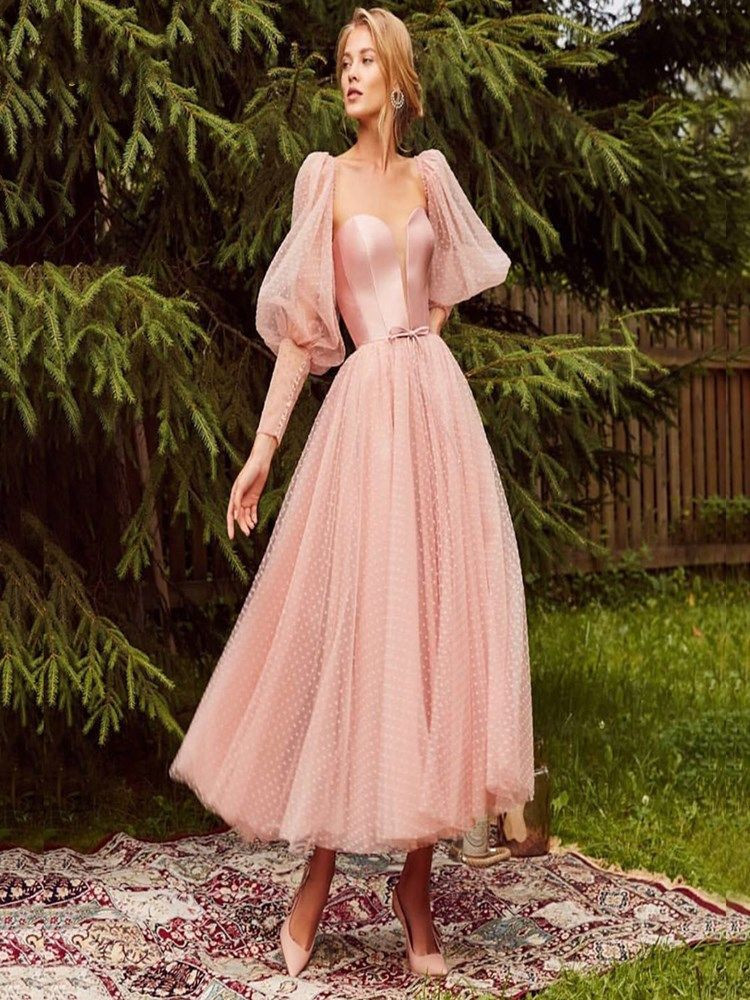 Free Shipping  Pink Prom Dress 2019 Tea Length Dot Free Shipping Tulle A-line Lovely Party Dress Latter Sleeves Satin Bodice Elegant Dresses Vestido