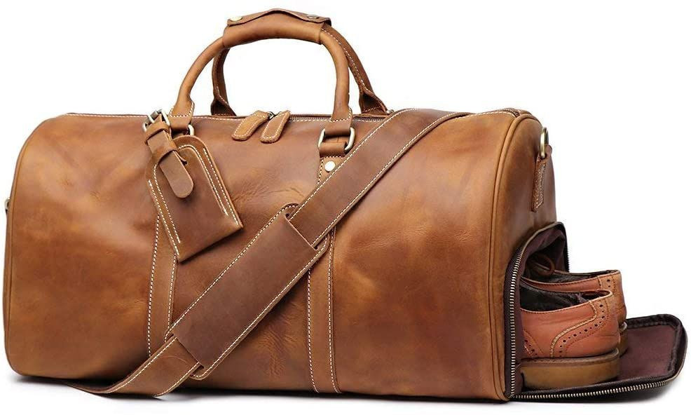 Leather Vintage Travel Unique Luggage Bag Mens Duffle Retro Handbag 22 Inches(Brown)