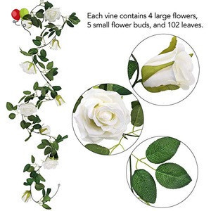 6.5Ft Artificial Rose Vine Silk Flower Garland Hanging Baskets Plants Home Outdoor Wedding Arch Garden Wall Decor KZH318