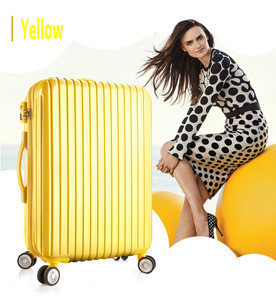 ABS PC Vertical Stripes Hard Shell Luggages Trend Design For Ladies